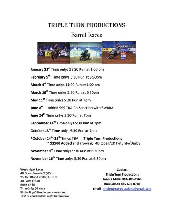 Triple Turn Productions Barrel Race @ Triple C Arena | Panguitch | Utah | United States